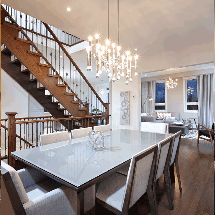 Dinning Table with Stairs to second Floor